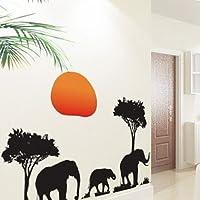 African Elephants Trees Wall Art Decals Animal Sticker Decor Decals Vinyl