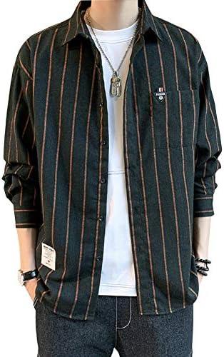 [エレガンザー]シャツ メンズ 長袖 ストライプシャツ ビッグシルエット ドロップショルダー ポケット付き カジュアル おしゃれ 大きいサイズ 春 秋 冬
