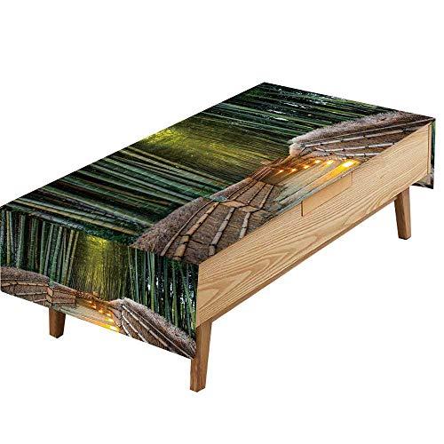 (PINAFORE Printed Fabric Tablecloth Arashiyama Bamboo Forest in Kyoto Japan picnics.Gathering W54 x L90 INCH)