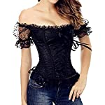 Burvogue Corset Top,Women Steampunk Gothic Jacquard Halloween Costume Lace Shirt 7
