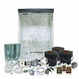 "HTGSupply 2 x 4 (29""x53""x79"") Grow Tent Kit Complete With 400-Watt HPS Grow Light + DWC Hydroponic System & Advanced Nutrients"