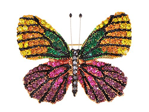 Alilang Womens Fashion Golden Tone Shine Purple Yellow Multicolor Rhinestones Winged Monarch Butterfly Insect Brooch Pin