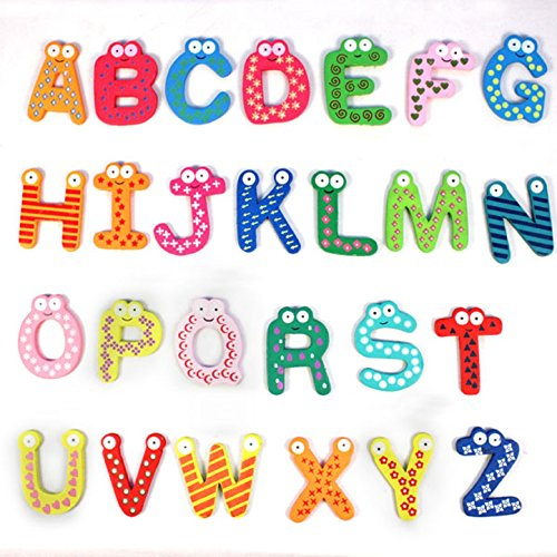 DATEWORK Colorful Cute 26 Letters Wooden Cartoon Fridge kid's Baby Educational (Wooden Broom Pen)