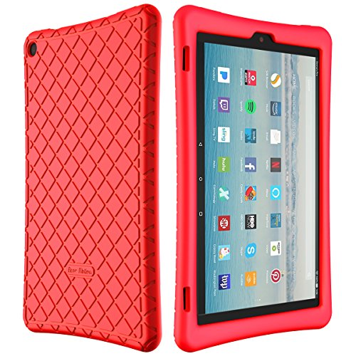 Bear Motion Silicone Case for Fire HD 10 2017 - Anti Slip Shockproof Light Weight Kids Friendly Protective Case for All-New Fire HD 10 Tablet with Alexa (2017 Model) (Fire HD 10 2017, Red)