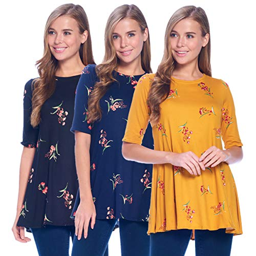 (Isaac Liev Women's 3/4 Sleeve Tunic Top - Pack of 3 Swing Flowy Long Shirts (Medium, Floral Mustard/Wine, Navy/red & Black/Red))