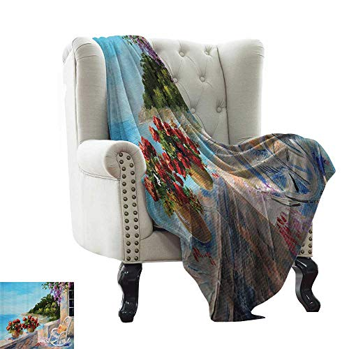 Lakehouse Decor Collection,Lightweight Blanket Sea View from a Balcony with Cosy Rocking Chair and Flowers in Summer Clear Sky Oil Painting 80