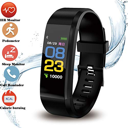 Fitness Tracker HR, Activity Tracker Watch with Heart Rate Monitor Waterproof Smart Bracelet with Step Counter, Calorie Counter, Pedometer Watch for Kids Women and Men (Black)