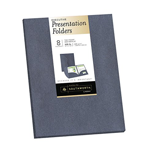 Southworth Executive Two-pocket Presentation Folders, 9 x 12 Inches, Gray Metallic, 8 Ct. (Executive Pocket)