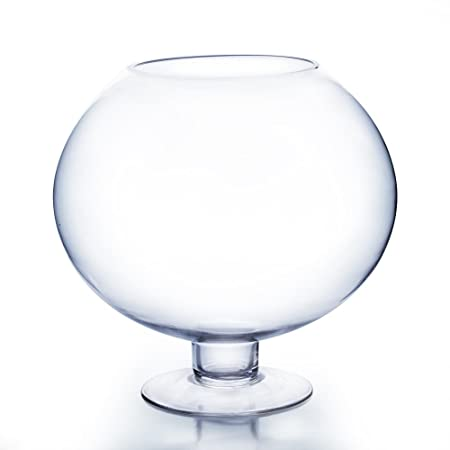 Wgv Clear Brandy Wine Shaped Bubble Bowl Glass Vase On Stand Large