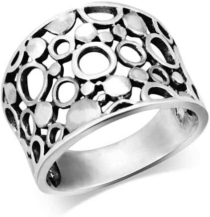 MIMI 925 Sterling Silver Wide Band Geometric Ring