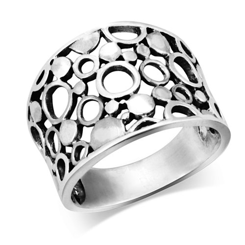 925 Sterling Silver Wide Band Geometric Ring - Size 9 (Wide Band Silver)