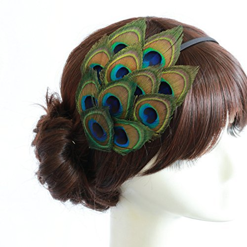 Nero Women's Handmade Peacock Feather Fascinator Headpiece, Fascinator Headband for Fancy Party by Nero