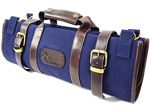 Boldric 17 Pocket Canvas Knife Bag with Handle and Shoulder Strap, Top Quality Heavy-Duty Portable Chef's Knives Case, Navy, 20-inch by Boldric