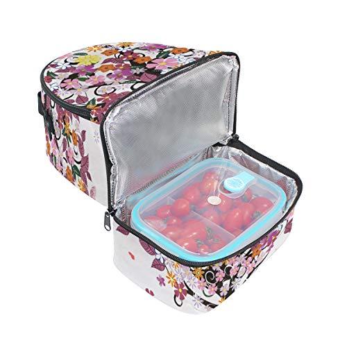 Tote coloré Folpply avec isotherme papillon Pincnic Boîte pour l'école à réglable à lunch Arbre Cooler bandoulière avec Sac 1ddqv