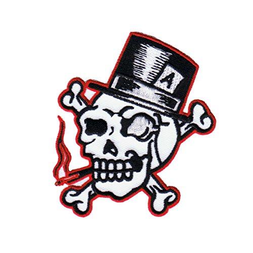 Artist Reed Skull Top Hat Patch Biker Crossbones Embroidered Iron On Applique