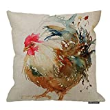 HGOD DESIGNS Funny Popular Watercolor Rooster Art Colorful Chicken Pillow Cover, 18 X