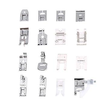 Prensatelas Accesorios para Máquina de coser Matefielduk 16pcs multi-uso máquina de coser doméstica Presser pies Set unirse kit de piezas: Amazon.es: Hogar