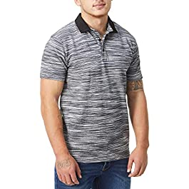 Charles Wilson Men's Contrast Collar Popcorn Knit Polo Shirt