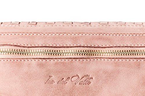 Ira del Valle, Borsa Donna, In Vera Pelle Intrecciata Vintage, Made in Italy, Modello Chicago Bag, Pochette a Mano e Spalla con Tracolla da Donna Ragazza rosa antico