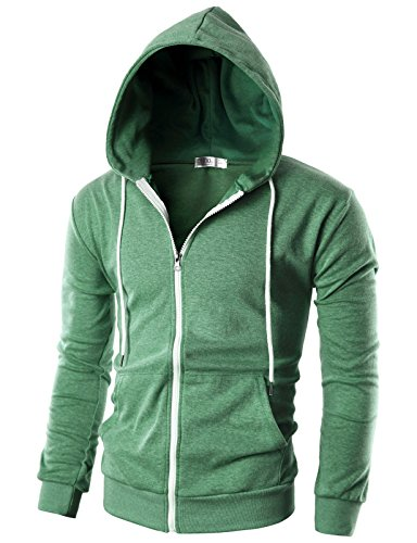 OHOO Mens Slim Fit Long Sleeve Lightweight Zip-up Hoodie with Kanga Pocket/DCF002-JADEGREEN-S ()