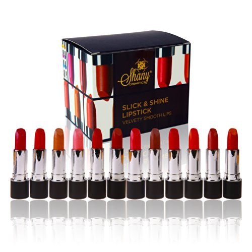 SHANY Slick & Shine Lipstick Set - Ensemble de 12 couleurs Famouse