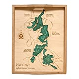 St Germain Lake (Little) in Vilas, WI - 2D Serving Tray 14 x 18 IN - Laser carved wood nautical chart and topographic depth map.