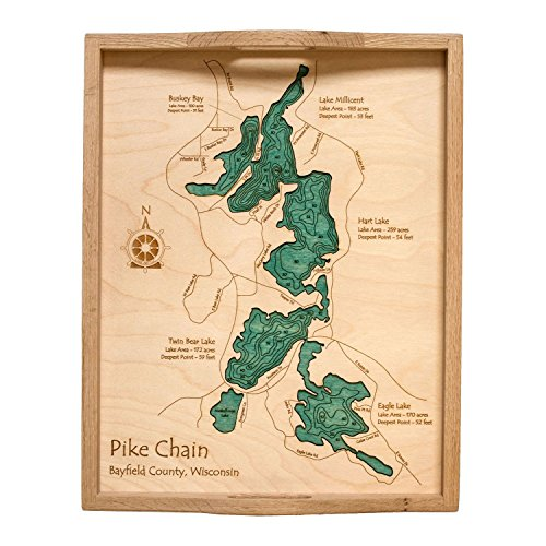 lake-beulah-in-walworth-wi-2d-serving-tray-14-x-18-in-laser-carved-wood-nautical-chart-and-topograph