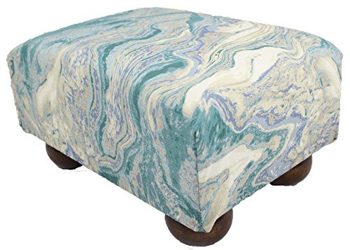 Nautical Ottoman (Serene Ocean Swirls Upholstered Fabric Footstool Ottoman)