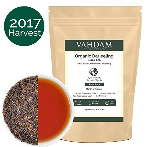 Organic Darjeeling Black Tea Leaves from Himalayas (200+ Cups), 100% Certified Pure Unblended Darjeeling, Packed at Source in India, 16-Ounce Bag