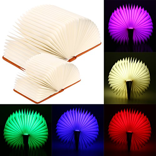 FUNOC LED Book Lamp, Folding Book Light Reading Night Light Table Lamp with USB Rechargeable for Decor, Magnetic Design- Creative Gift Birthday,Lovers,Holiday (Table Lamp Leather Brown)