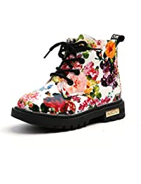 Toddler Hiking Boots Floral Rubber Sole Girls Boys Boots Kids Shoes