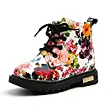 UBEY Toddler Leather Girls Boots Flower Printed Rubber Sole Boots Waterproof (9 M, White)