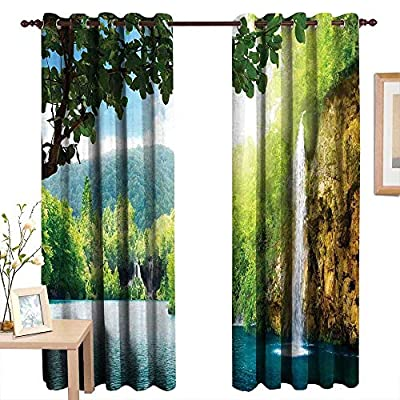 TimBeve Blackout Curtains for Bedroom Waterfall,Croatian Lake Landscape in Forest with Mountain View Background Work of Art,Green and Blue,Darkening Grommet Window Curtain-Set of 2