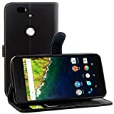 Nexus 6P Case, Premium Leather Wallet Case Cover with Stand Card Holder for Huawei Google Nexus 6P / 6 2nd Gen 2015 Phone (Smooth - Black)