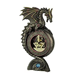 Resin Table Clocks Steampunk Dragon Bronze Finish Table Clock With Moving Clockworks 4.75 X 9 X 3 Inches Bronze
