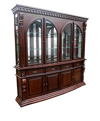 D-Art Sheraton Hutch China Cabinet - in Mahogany Wood