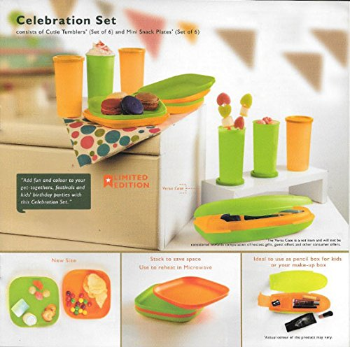 f5b01209e7d Buy Tupperware Plastic Celebration Set (6 Snack Plate, 6 Cutie Tumbler, 1  Pencil Box) Online at Low Prices in India - Amazon.in