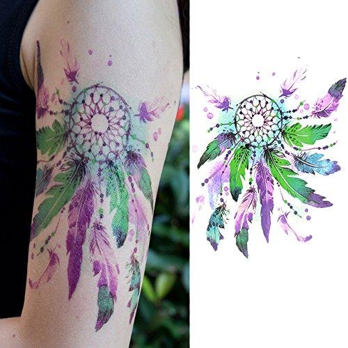 Oottati Tatouages Temporaires Old School Vert Violet Indien Receveur De Rêve (2 Feuilles)