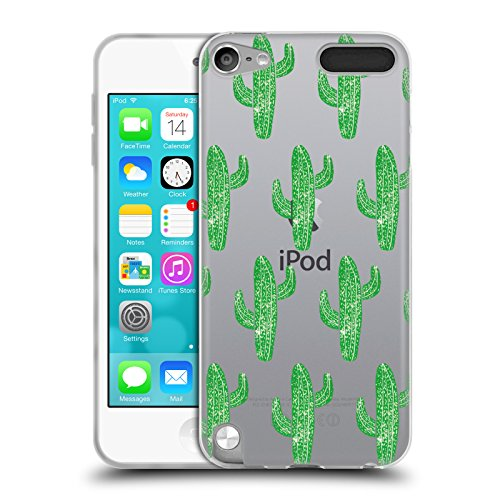 Official Bianca Green Linocut Cacti Patterns Soft Gel Case for Apple iPod Touch 5G 5th Gen