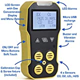 Basic MULTIGAS + Pump Analyzer, Detector, Meter by FORENSICS | O2, CO, H2S, LEL | USB Recharge | Sound, Light & Vibration Alarms | Large Display & Backlight |