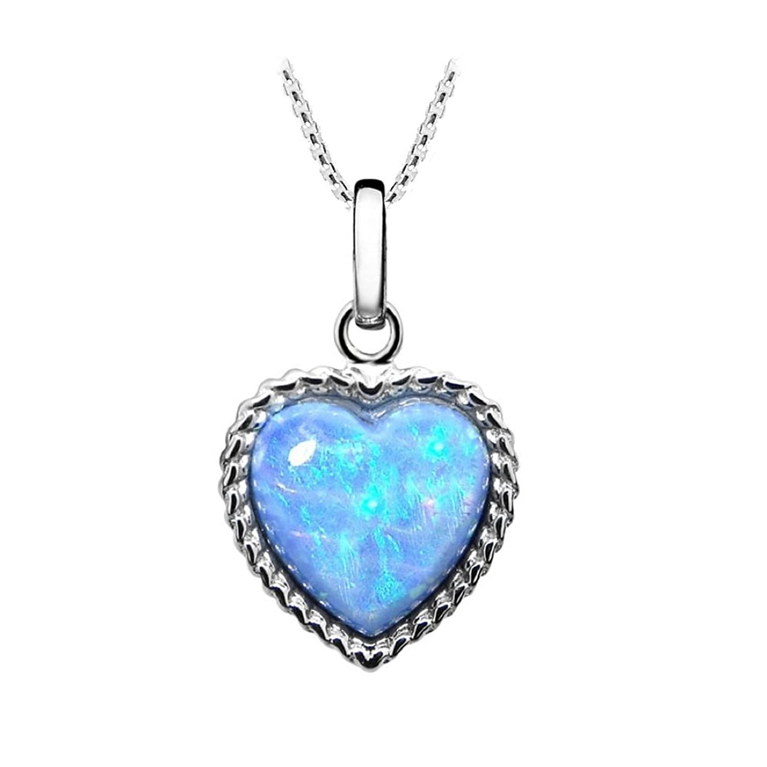 Vibrant Blue Opal Pendant, Sterling Silver with Round 12mm Cultured Opal.