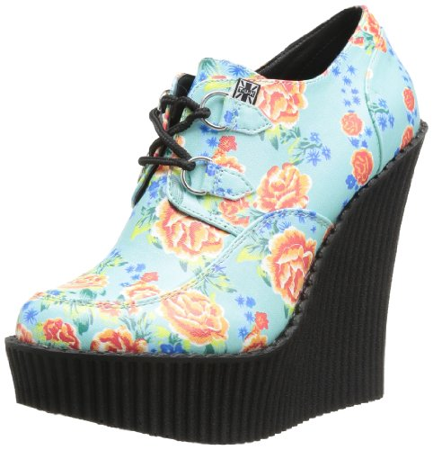 T.U.K. Shoes Ribbed Sole Wedge Lace Up - Zapatos de Cordones de cuero mujer verde - Vert (Tropical Floral Print)