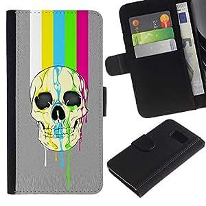 All Phone Most Case / Oferta Especial Cáscara Funda de cuero Monedero Cubierta de proteccion Caso / Wallet Case for Sony Xperia Z3 Compact // Rainbow Tv Skull Lines Grey Pattern