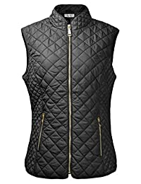 ZLYC Women's Lightweight Quilted Warm Jacket Jackets Vest with Zip Pocket