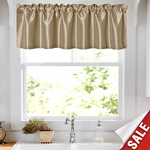 - Faux Silk Satin Curtain Valance for Kitchen 16 inch Length Window Panel for Living Room Light Reducing Dupioni Drapes Privacy Window Treatment Set, Pole Top, Gold Taupe, 1 Panel