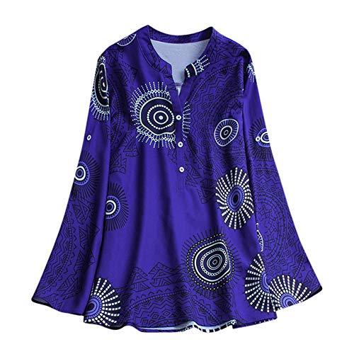 Aniywn Women Plus Size Vintage Printed Long Sleeve Tunic Tops V-Neck Loose Flowy Blouse Tee Shirt Blue ()