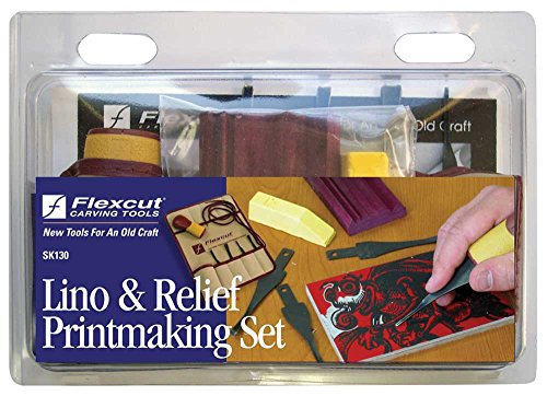 Flexcut Carving Tools, Printmaking Set, 4 Carving Blades an Quick-Connect ABS Handle Included, 5-Piece Set (4 Piece Carving Set)