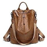 ZUNIYAMAMA Casual Purse Fashion School Leather Backpack Crossbady Shoulder Bag Mini Backpack for Women & Teenage Girls brown