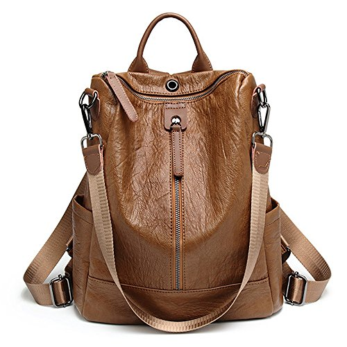 ZUNIYAMAMA Casual Purse Fashion School Leather Backpack Crossbady Shoulder Bag Mini Backpack for Women & Teenage Girls brown by ZUNIYAMAMA