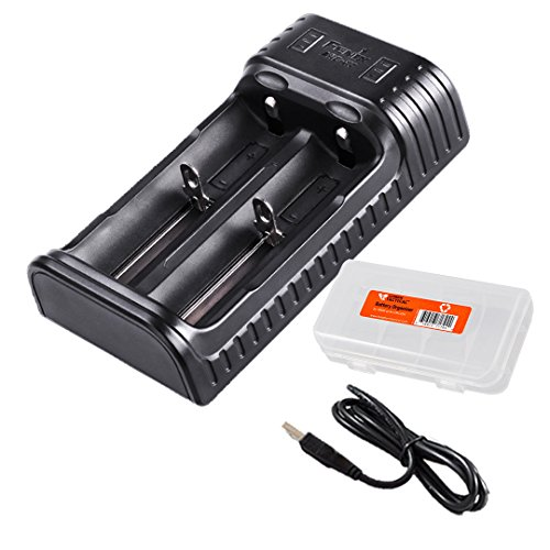 Fenix ARE-X2 Two Channel USB Smart Charger for 18650 26650 16340, RCR123A, 14500, 10440 Batteries with LumenTac Battery Organizer, for PD35 TK15 TK16 TK32 by Fenix